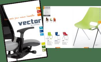Conception et réalisation d'un catalogue | Sièges de bureau | Vector by Simmis